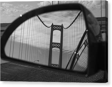 Mackinac Bridge In The Mirror Canvas Print by John McGraw