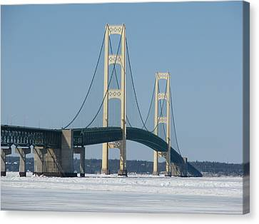 Mackinac Bridge In Winter Canvas Print by Keith Stokes