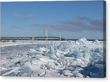 Mackinac Bridge With Ice Windrow Canvas Print by Keith Stokes