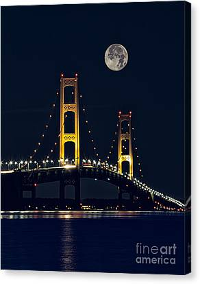 Night-scape Canvas Print - Mackinac Bridge With Moonrise by Todd Bielby