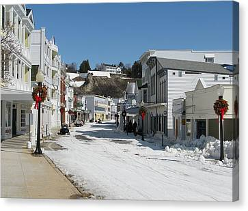 Mackinac Island In Winter Canvas Print by Keith Stokes