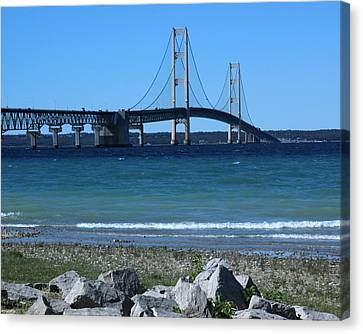 Canvas Print featuring the photograph Mackinaw Bridge by Bill Woodstock