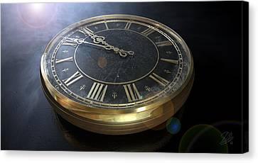 Macro Antique Watch Midnight Canvas Print by Allan Swart