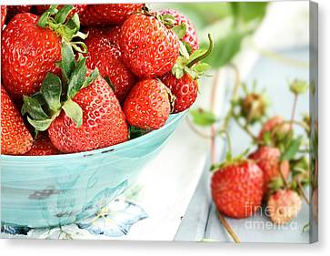 Macro Of Fresh Strawberries  Canvas Print by Stephanie Frey