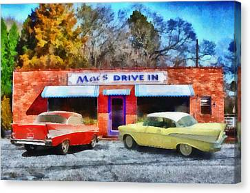 57 Chevy Canvas Print - Mac's Drive In by Lynne Jenkins