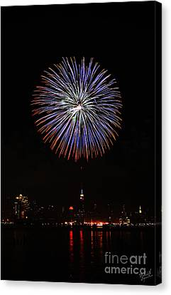 Fireworks Over The Empire State Building Canvas Print by Nishanth Gopinathan