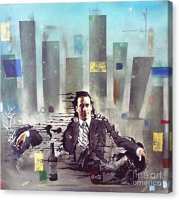 Mad Men Disintegration Of Don Draper Canvas Print by John Lyes