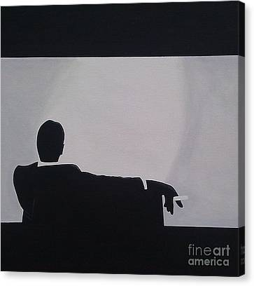 Mad Men In Silhouette Canvas Print by John Lyes