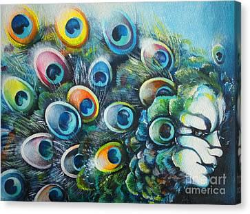 Madam Peacock Canvas Print by Alessandra Andrisani