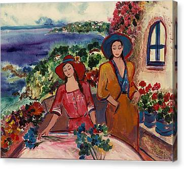 Canvas Print featuring the painting Madame And Mademoiselle by Elaine Elliott