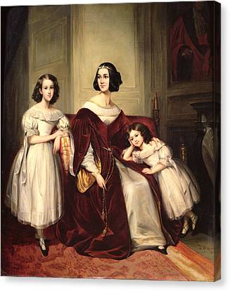 Madame De Nonjon And Her Two Daughters, 1839 Oil On Canvas Canvas Print by Joseph Nicolas Jouy