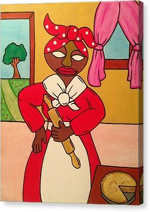 Madame In Red Canvas Print by Eddie Pagan