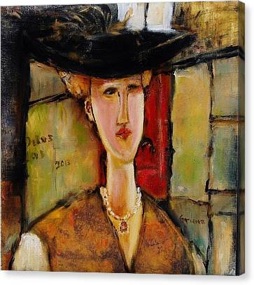 Madame Pompador As A Tribute To Modigliani Canvas Print by Jean Cormier