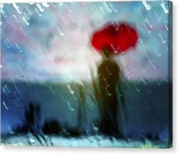 Madame With Umbrella Canvas Print