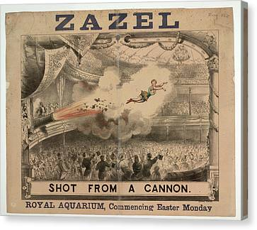 Madame Zazel Shot From A Cannon Canvas Print by British Library