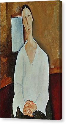 Madame Zborowska With Clasped Hands Canvas Print