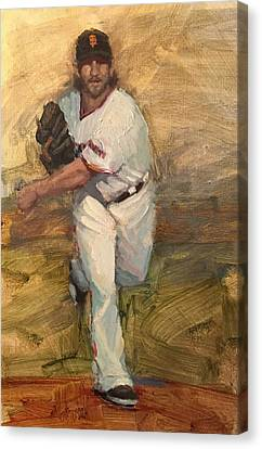 San Francisco Giants Canvas Print - Madbum Warmup Sketch by Darren Kerr