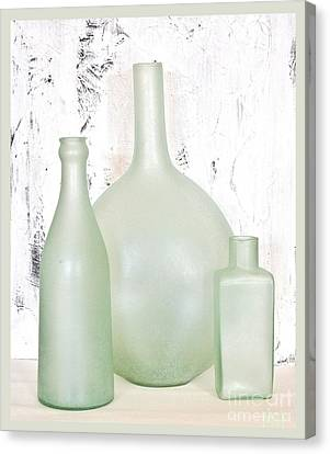 Made In India Sea Glass Bottles Canvas Print by Marsha Heiken