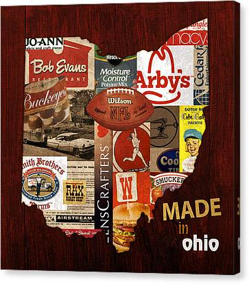 Made In Ohio Products Vintage Map On Wood Canvas Print by Design Turnpike