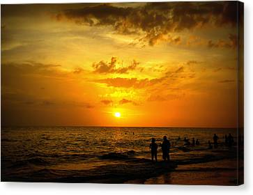 Canvas Print featuring the photograph Madeira Sunset by Laurie Perry