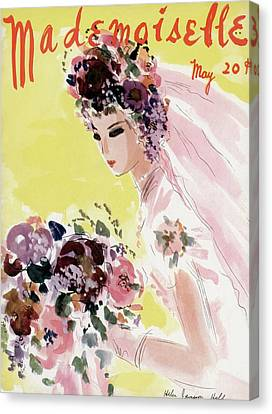 Wedding Bouquet Canvas Print - Mademoiselle Cover Featuring A Bride by Helen Jameson Hall