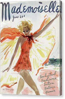 Mademoiselle Cover Featuring A Model At The Beach Canvas Print by Helen Jameson Hall