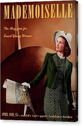 Mademoiselle Cover Featuring A Model In A Green Canvas Print by Paul D'Ome