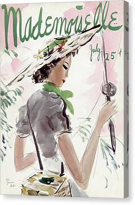 Magazine Art Canvas Print - Mademoiselle Cover Featuring A Woman Holding by Helen Jameson Hall