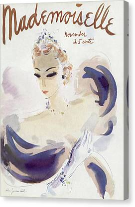 Mademoiselle Cover Featuring A Woman In A Gown Canvas Print by Helen Jameson Hall