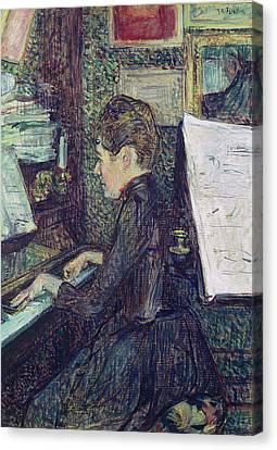 Mademoiselle Dihau At The Piano Canvas Print by Henri de Toulouse-Lautrec