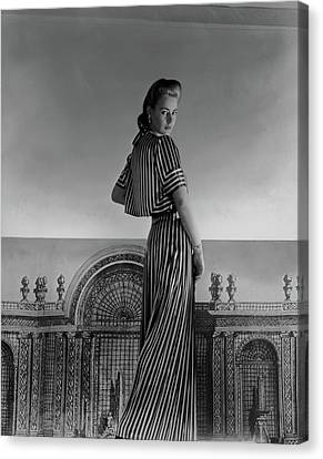Mademoiselle Guillermo De Blanck In A Satin Dress Canvas Print by Horst P. Horst