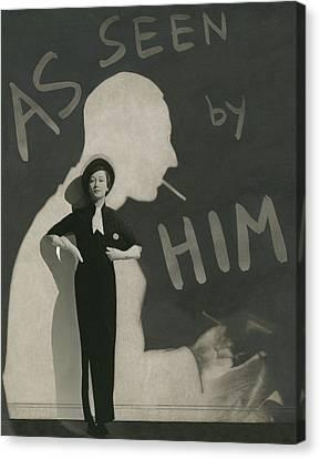 Purse Canvas Print - Mademoiselle Koopman Wearing A John Mcmullin by George Hoyningen-Huene