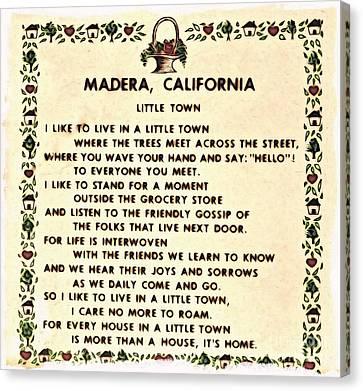 Madera Ca Little Town  Canvas Print