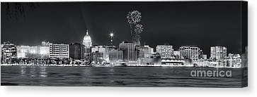 Madison - Wisconsin -  New Years Eve Panorama Black And White Canvas Print by Steven Ralser