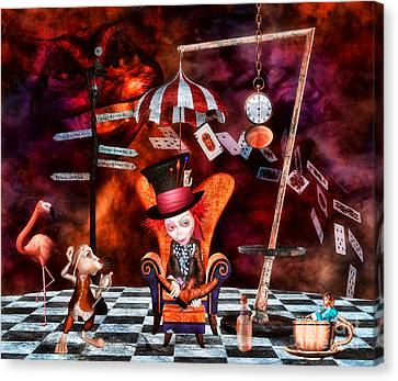 Mad Hatter Canvas Print - Madness In The Hatter's Realm by Putterhug  Studio