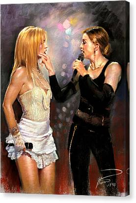 Madonna And Britney Spears  Canvas Print by Viola El