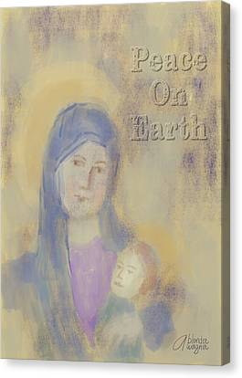 Canvas Print featuring the digital art Madonna And Child by Arline Wagner