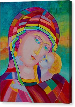 Mother Mary Nursing The Infant Jesus Orthodox Icon. Madonna With Child Painting Canvas Print by Magdalena Walulik