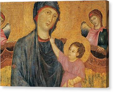 Madonna And Child Enthroned With Two Angels Canvas Print by Cimabue