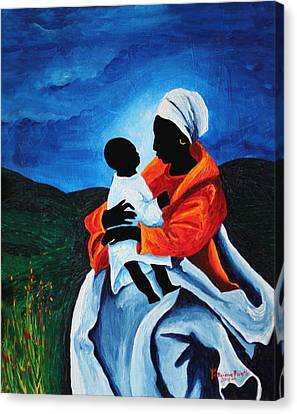 Religious Art Canvas Print - Madonna And Child First Words by Patricia Brintle
