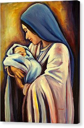 Bethlehem Canvas Print - Madonna And Child by Sheila Diemert