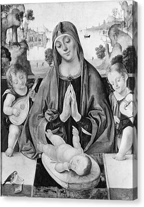Madonna And Child With Angels Canvas Print