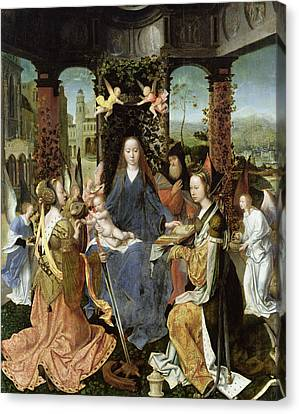 Madonna And Child With Mary Magdalene And St. Catherine Oil On Panel Canvas Print by Jan Gossaert