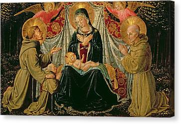 Madonna And Child With St Francis And The Donor Fra Jacopo Da Montefalco Left And St Bernardino Canvas Print by Benozzo di Lese di Sandro Gozzoli