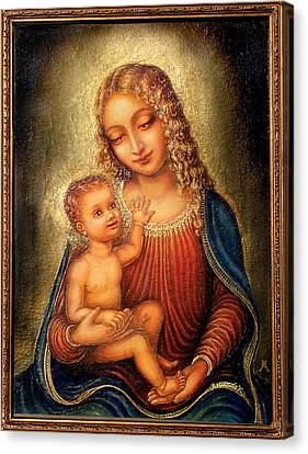Canvas Print featuring the mixed media Madonna Beata by Ananda Vdovic