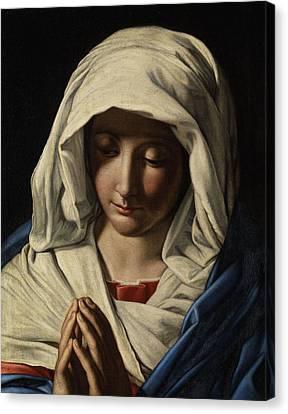Madonna In Prayer Canvas Print by Giovanni Battista Salvi da Sassoferrato