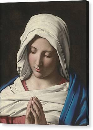 Madonna In Prayer Canvas Print by Sassoferrato
