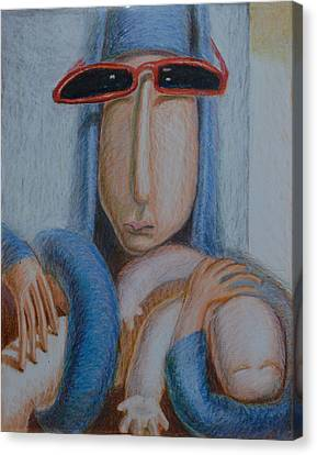 Madonna In Sunglasses Canvas Print by Nancy Mauerman