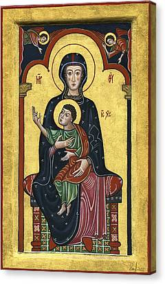 Madonna In Throne With Child. - Madonna In Trono Con Bambino.  Canvas Print