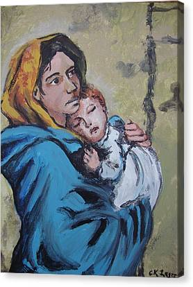 Madonna Of The Streets Canvas Print by Charlene Leger